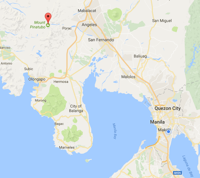 map location of Mt. Pinatubi