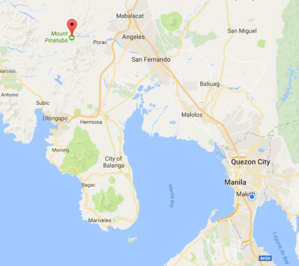 map location of Mt. Pinatubi